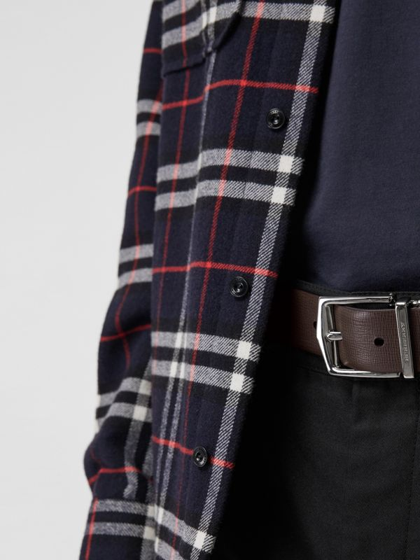 Reversible London Leather Belt in Black/chocolate - Men | Burberry - cell image 3