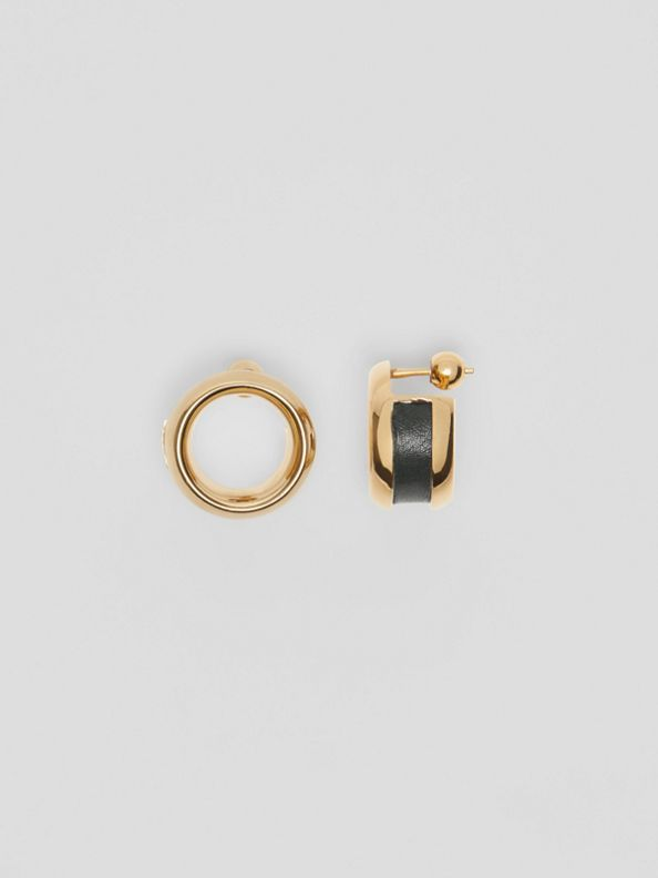 Ohrringe mit Leder- und Ösendetails (Helles Goldfarben/dunkelgrün)