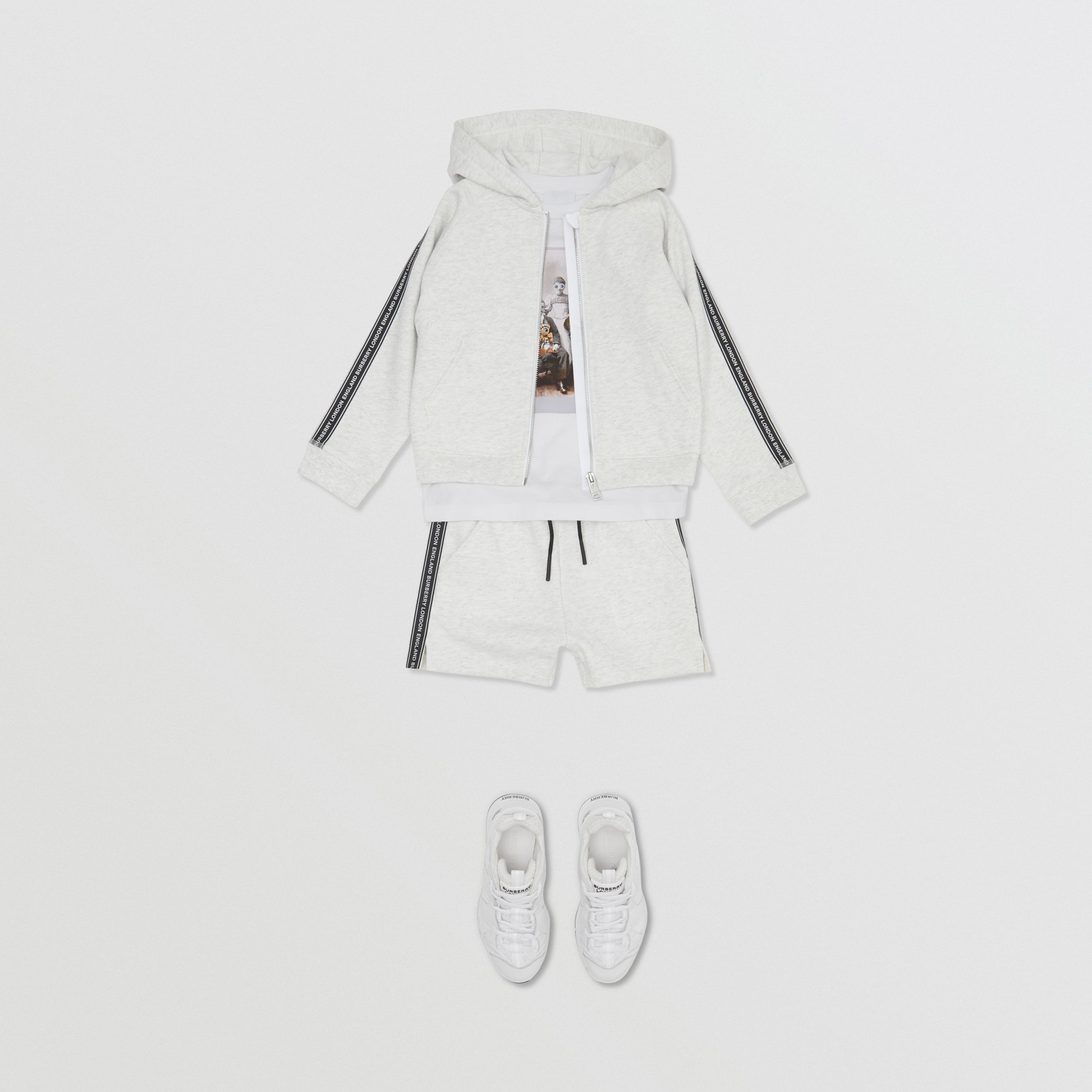 Logo Tape Cotton Hooded Top in White Melange | Burberry - 3