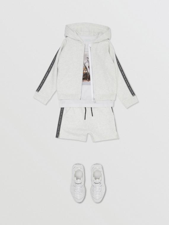 Logo Tape Cotton Hooded Top in White Melange