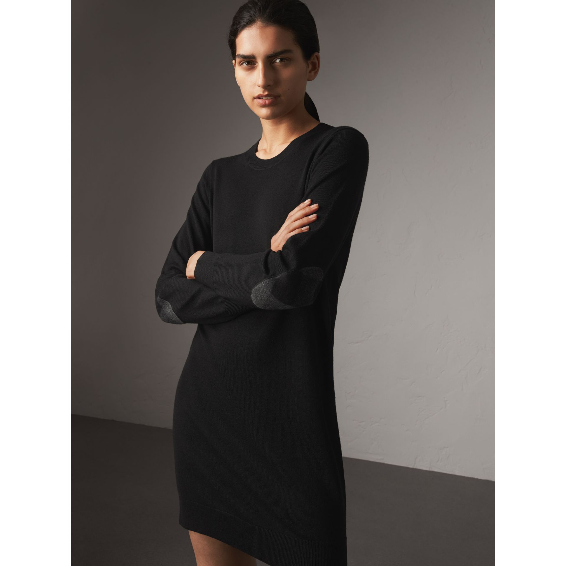 Check Elbow Detail Merino Wool Sweater Dress in Black - Women | Burberry - gallery image 1