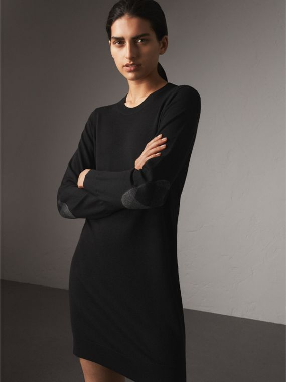 Check Elbow Detail Merino Wool Sweater Dress in Black - Women | Burberry Canada