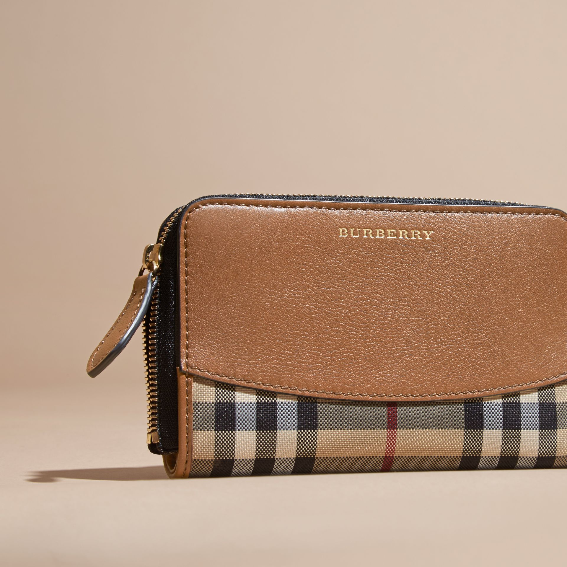 Horseferry Check and Leather Ziparound Wallet Tan - gallery image 3