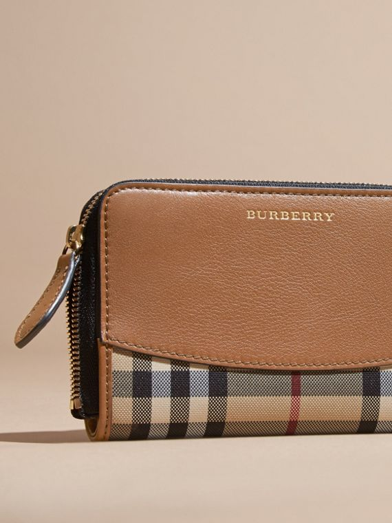 Tan Horseferry Check and Leather Ziparound Wallet Tan - cell image 2
