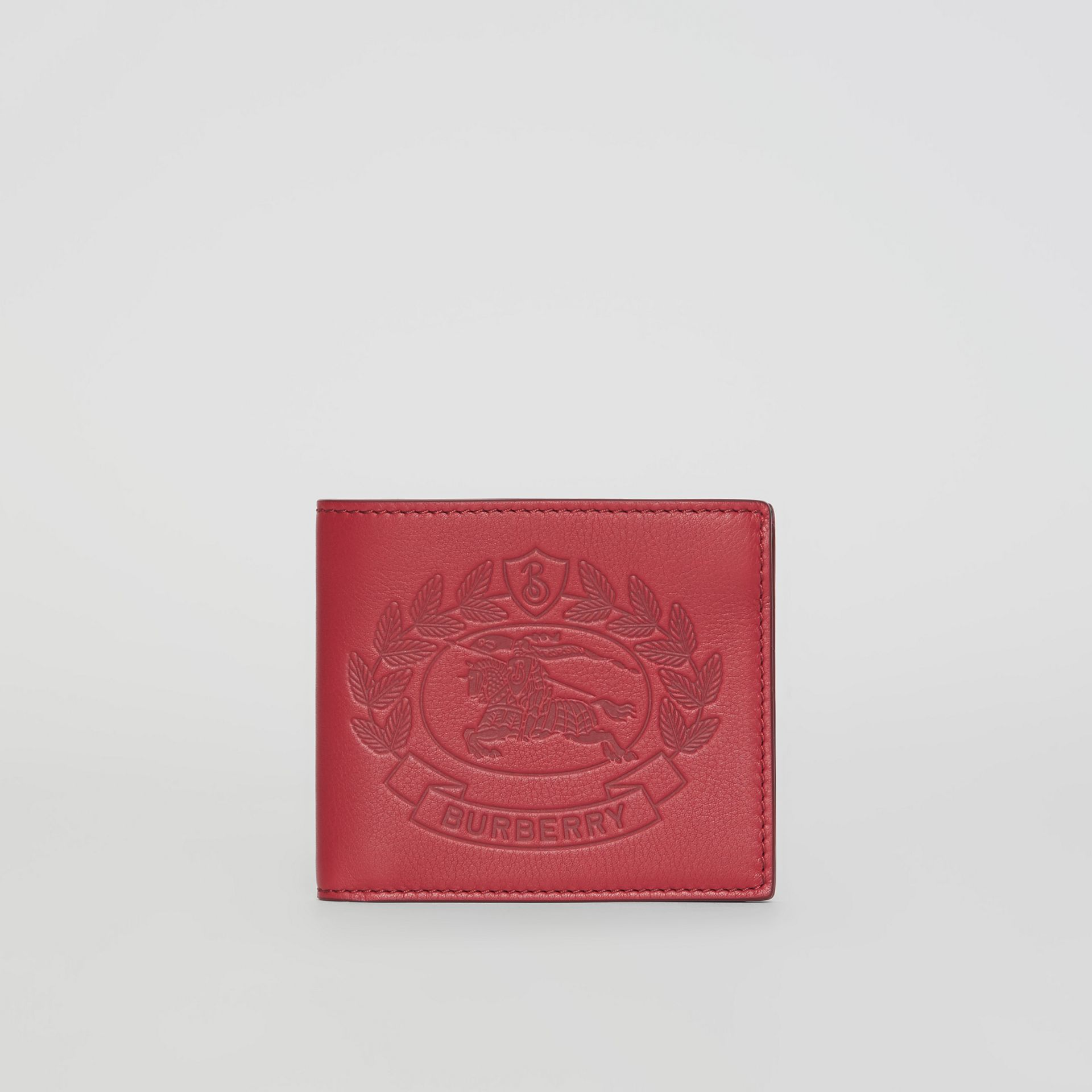 Embossed Crest Leather International Bifold Wallet in Crimson - Men | Burberry Australia - gallery image 5
