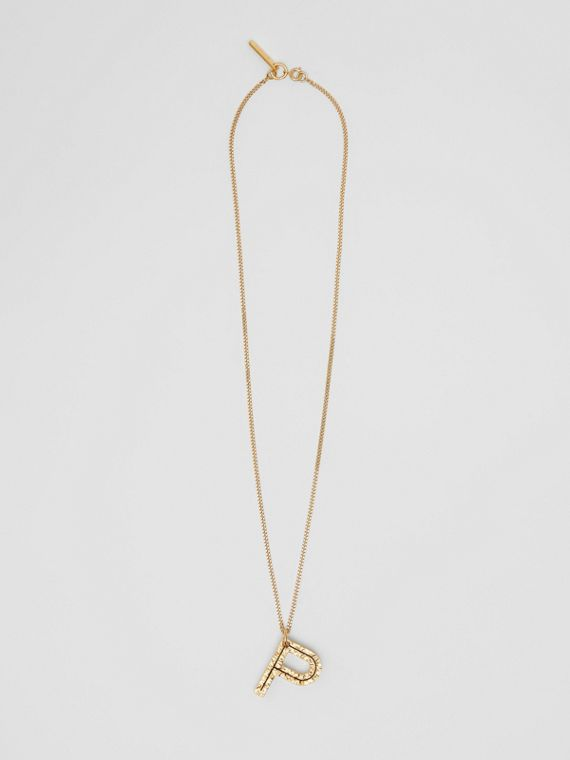 'P' Alphabet Charm Gold-plated Necklace in Light