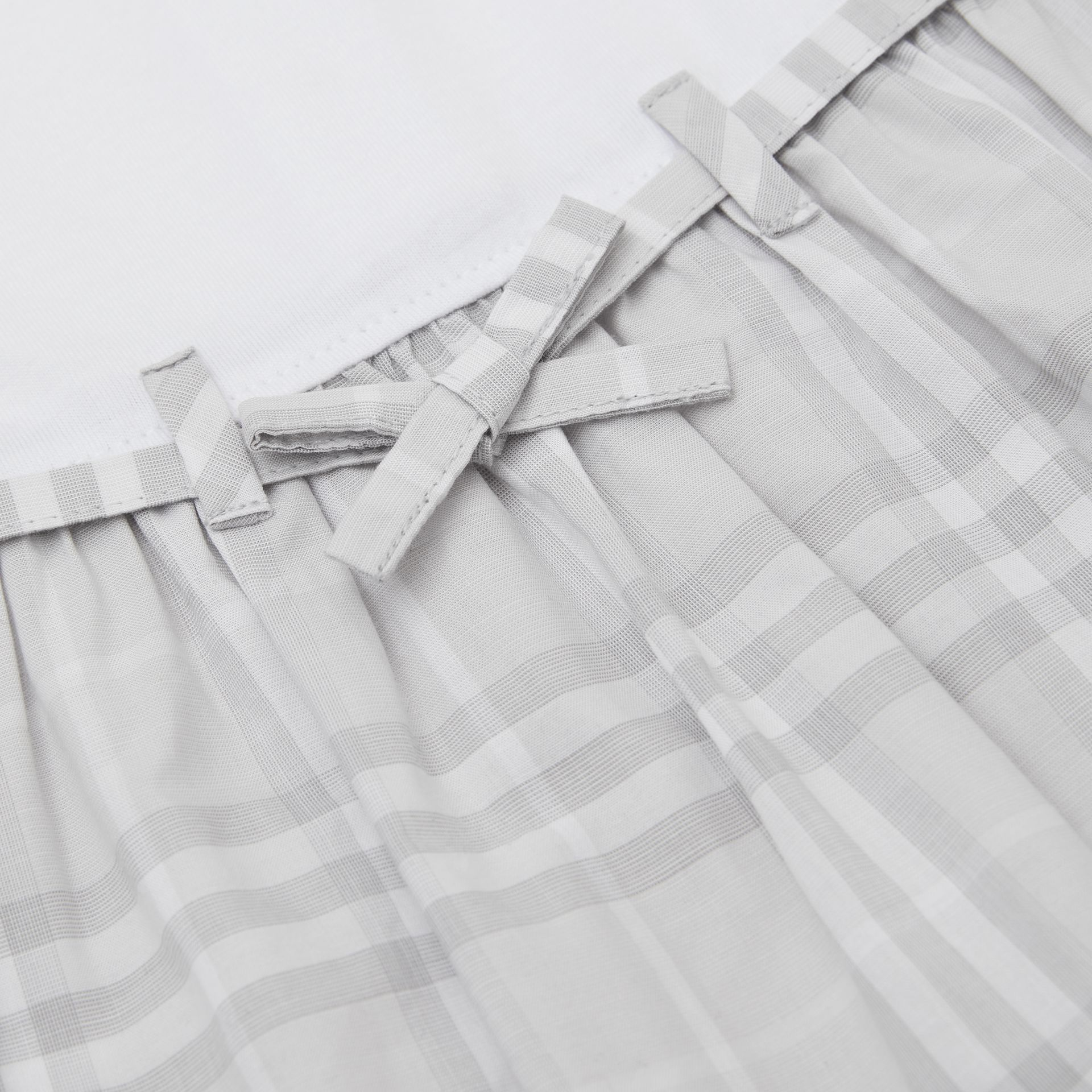 Check Detail Cotton Dress in White - Children | Burberry Hong Kong S.A.R - gallery image 1