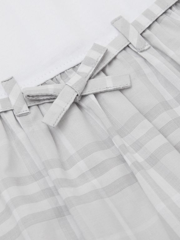 Check Detail Cotton Dress in White - Children | Burberry Hong Kong S.A.R - cell image 1