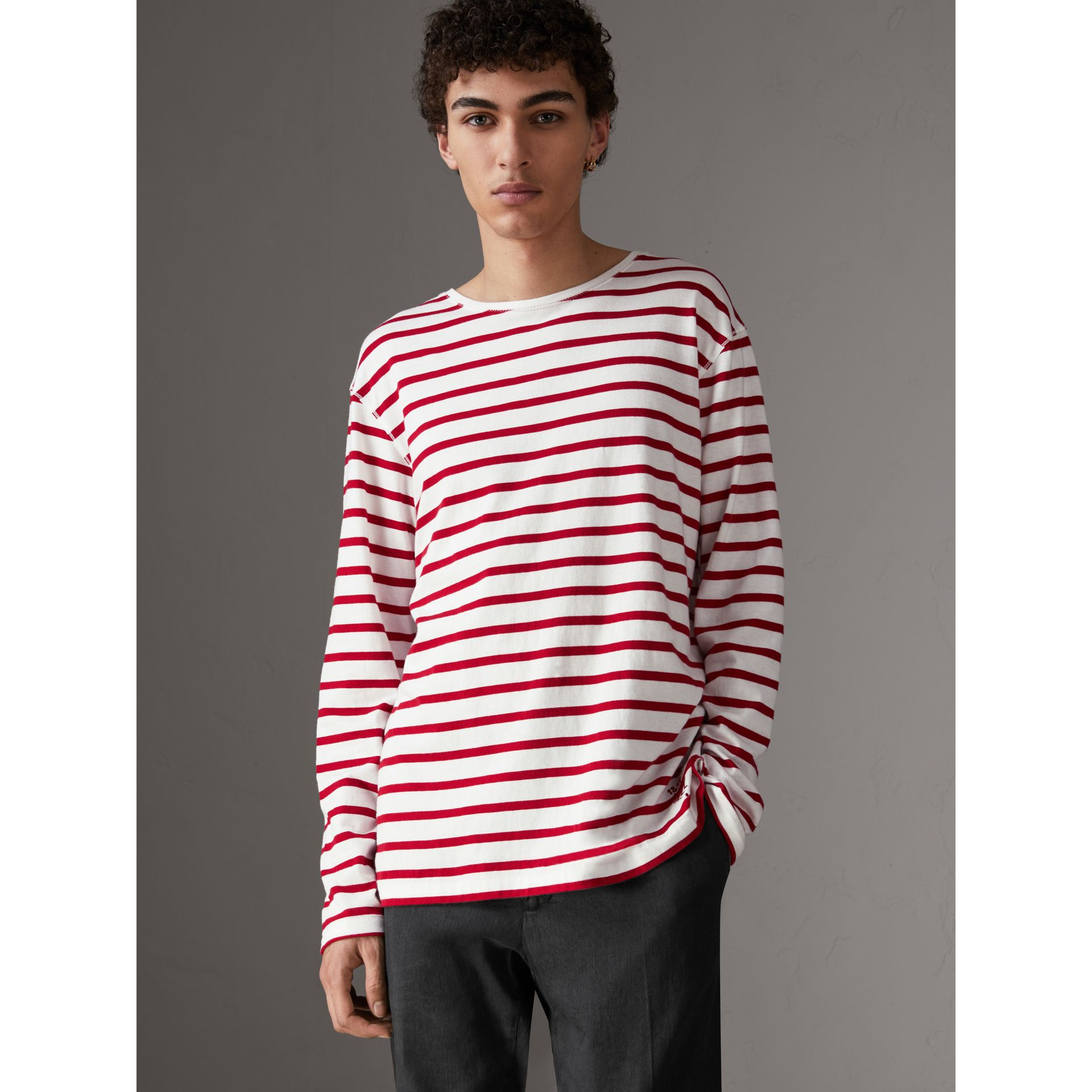 Breton Stripe Cotton Jersey Top in Red/white - Men | Burberry - gallery image 0