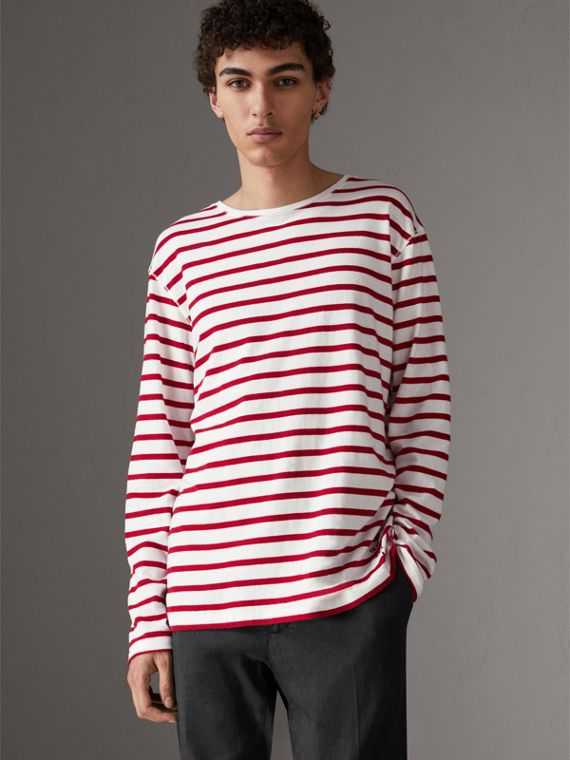 Breton Stripe Cotton Jersey Top in Red/white
