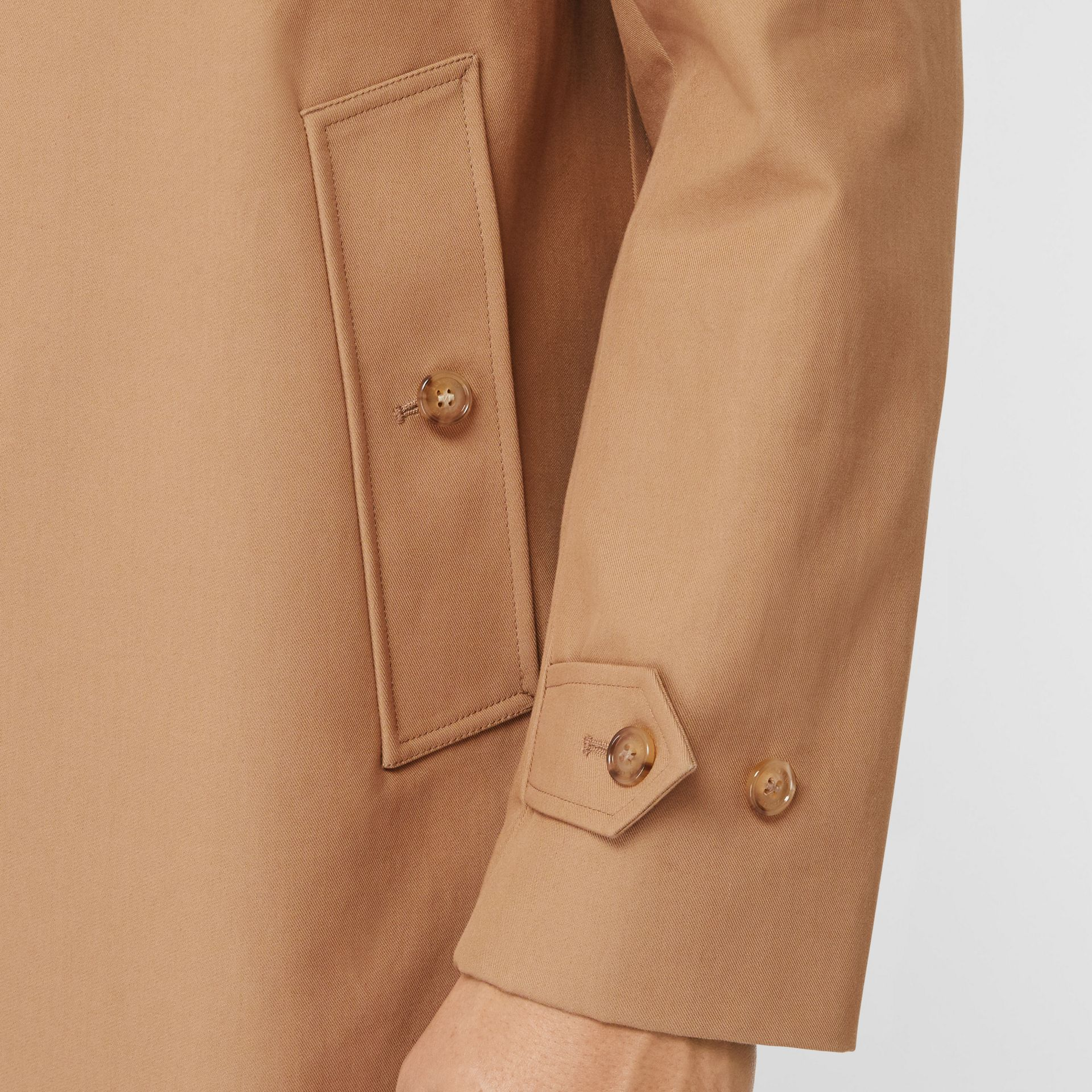 Detachable Striped Collar Cotton Car Coat in Warm Walnut - Men | Burberry United Kingdom - gallery image 4