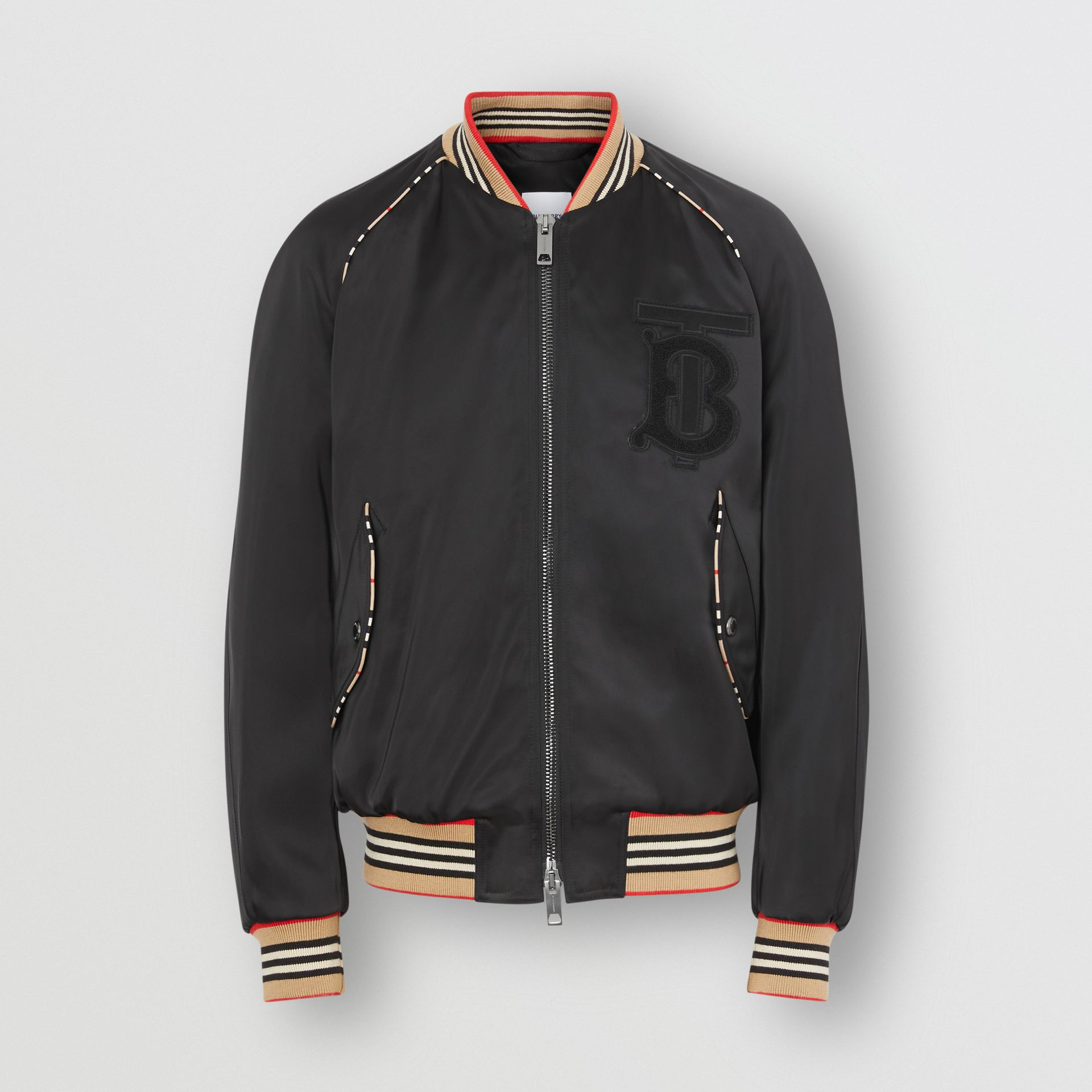 Icon Stripe Detail Monogram Motif Bomber Jacket in Black - Men | Burberry Australia - gallery image 3