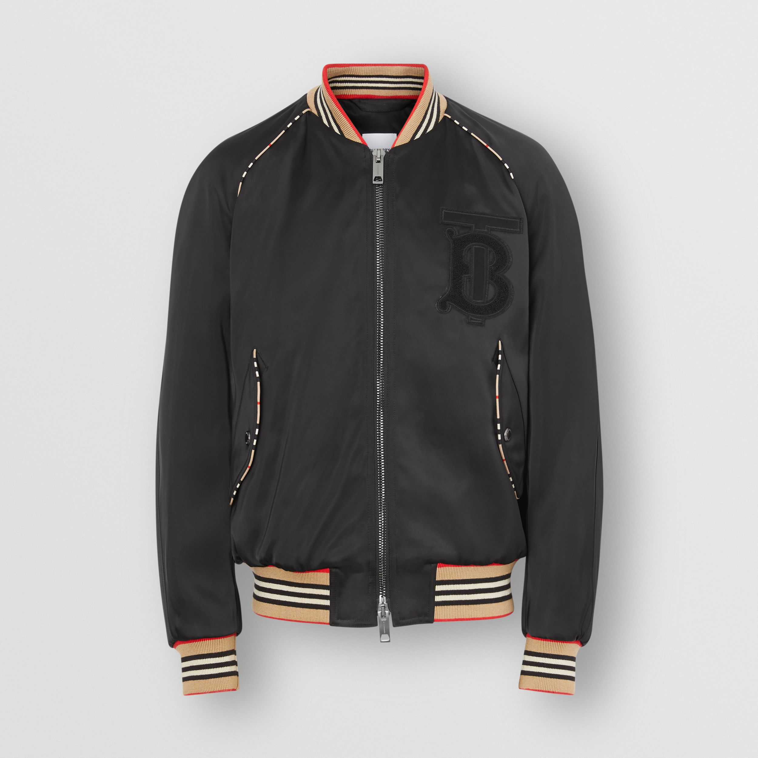 Icon Stripe Detail Monogram Motif Bomber Jacket in Black - Men | Burberry - 4