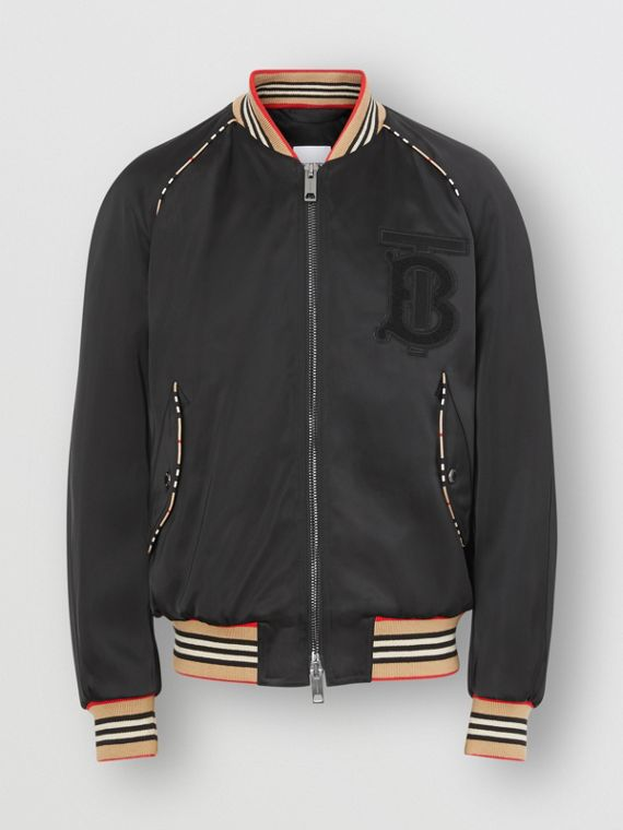 Icon Stripe Detail Monogram Motif Bomber Jacket in Black
