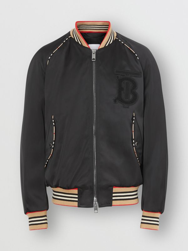 Icon Stripe Detail Monogram Motif Bomber Jacket in Black - Men | Burberry - cell image 3