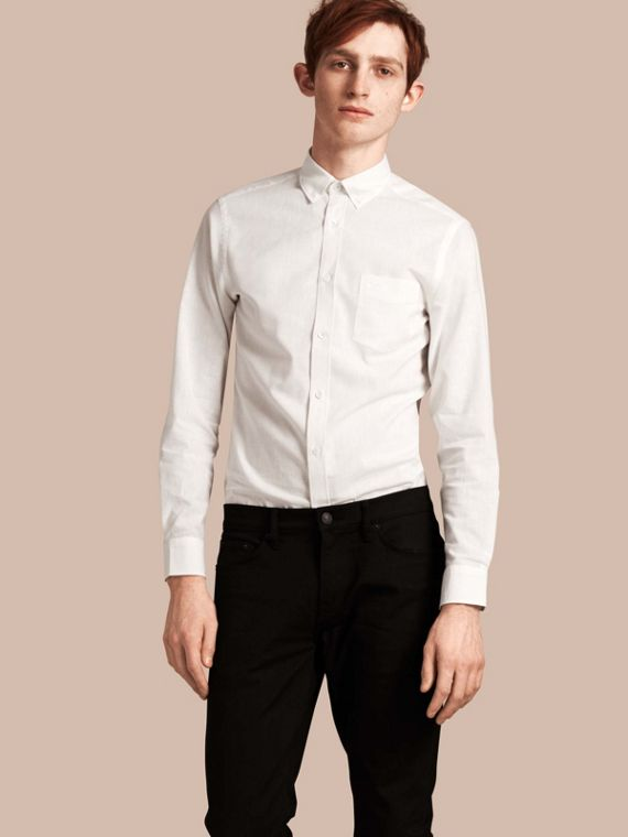 Button-down Collar Cotton Linen Shirt White