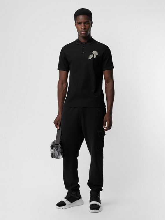 Bullion Floral Cotton Piqué Polo Shirt in Black