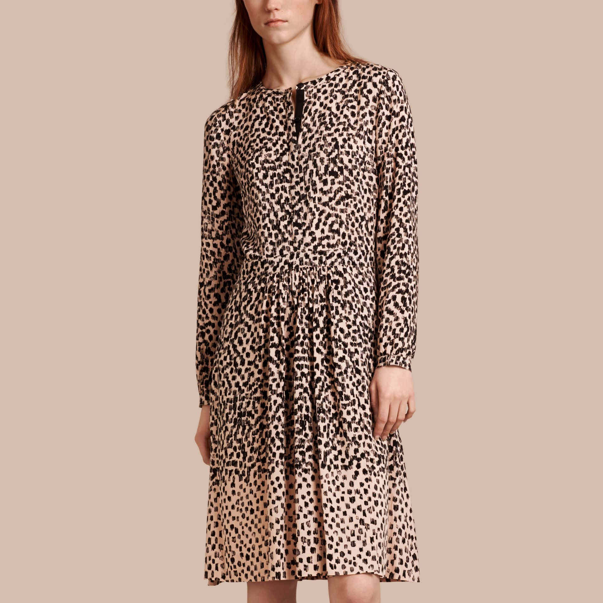 Nude Dash Print Shirt Dress Nude - gallery image 1