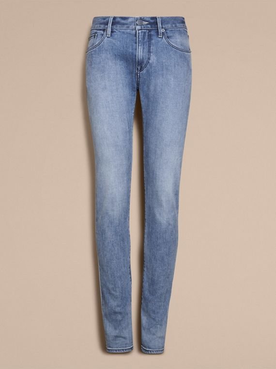 Skinny Fit Brushed Stretch Denim Jeans in Light Indigo Blue - Men | Burberry - cell image 3