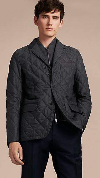 Quilted Wool Jacket with Detachable Warmer