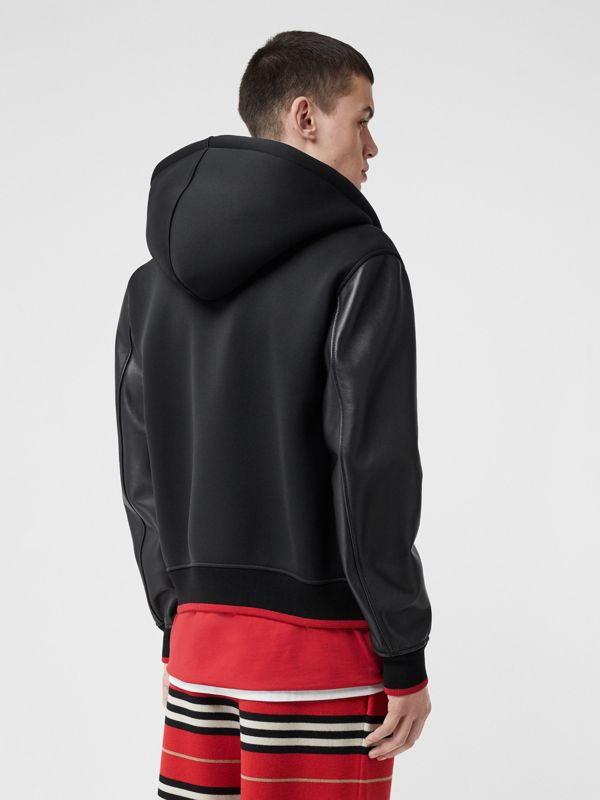Lambskin-sleeve Neoprene Hooded Jacket in Black - Men | Burberry - cell image 2