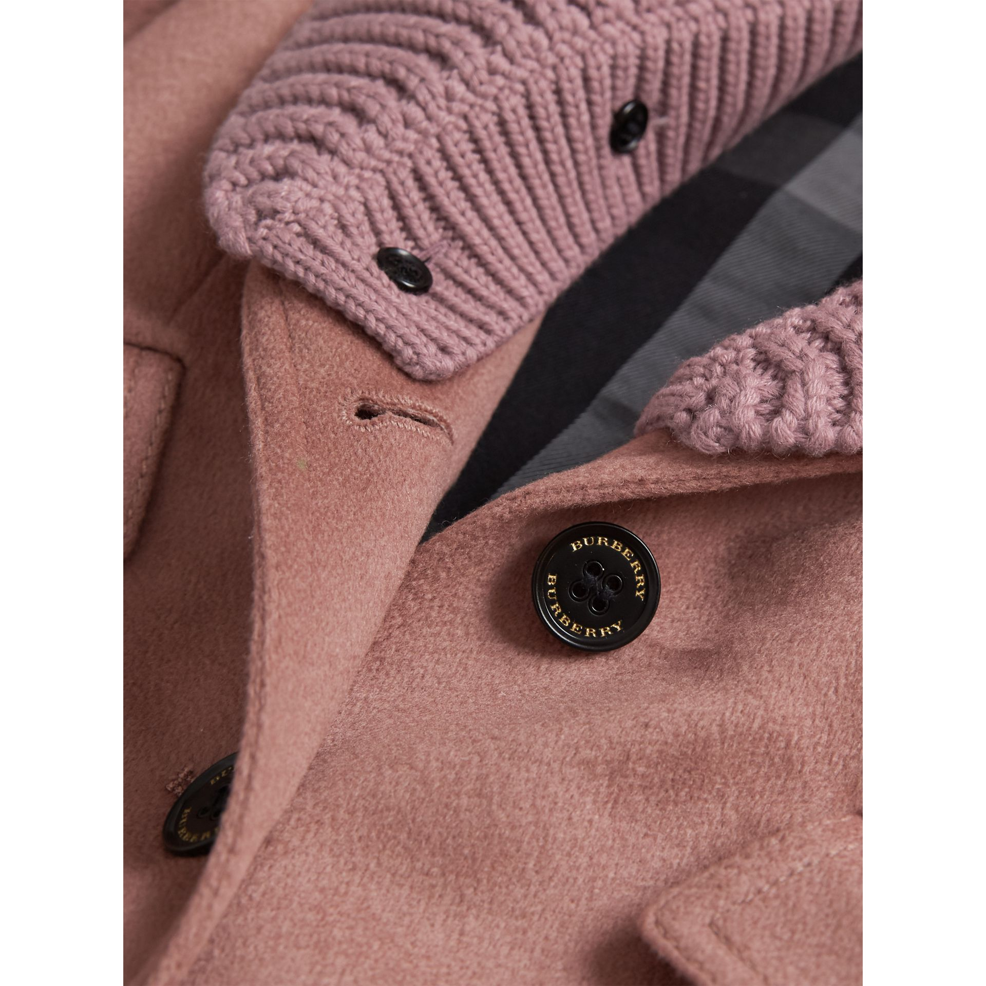 Detachable Rib Knit Collar Tailored Cashmere Coat in Antique Rose - Girl | Burberry - gallery image 2