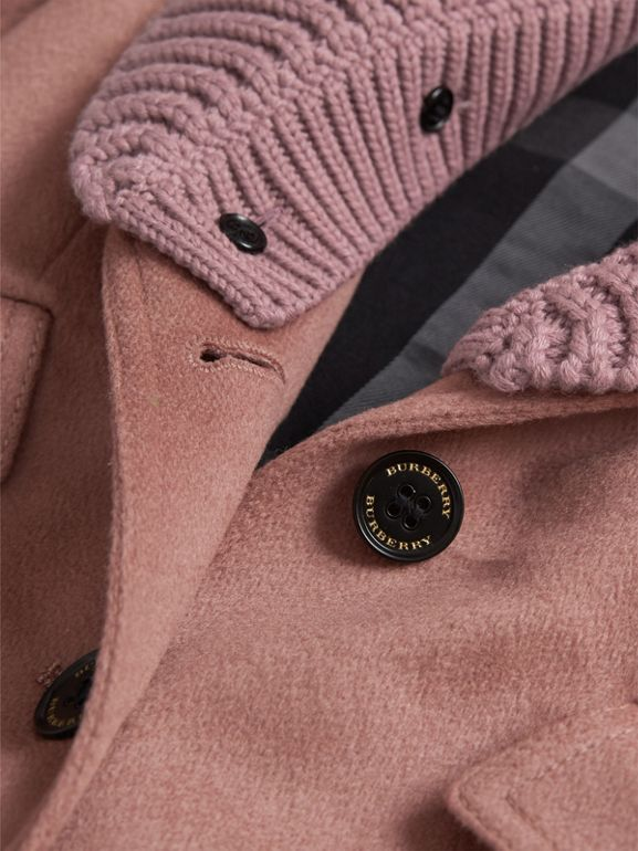 Detachable Rib Knit Collar Tailored Cashmere Coat in Antique Rose | Burberry - cell image 1