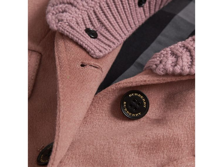 Detachable Rib Knit Collar Tailored Cashmere Coat in Antique Rose - Girl | Burberry - cell image 1