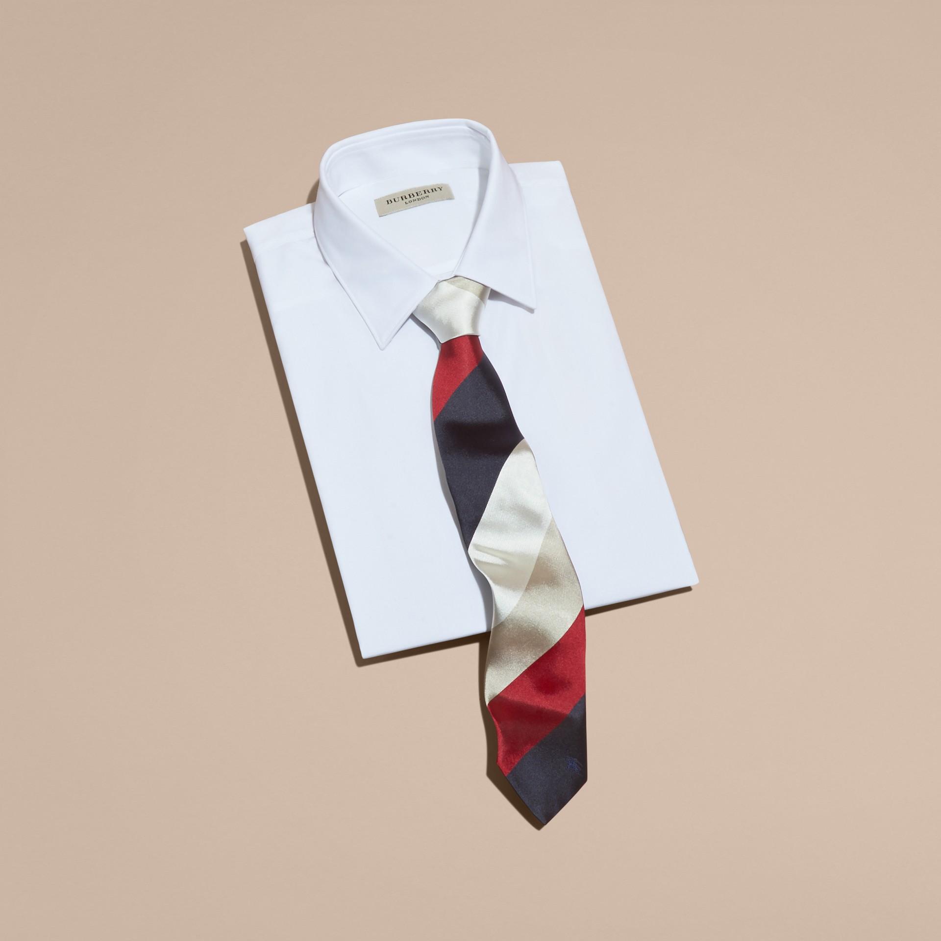 Deep claret Modern Cut Collegiate Stripe Silk Tie Deep Claret - gallery image 3