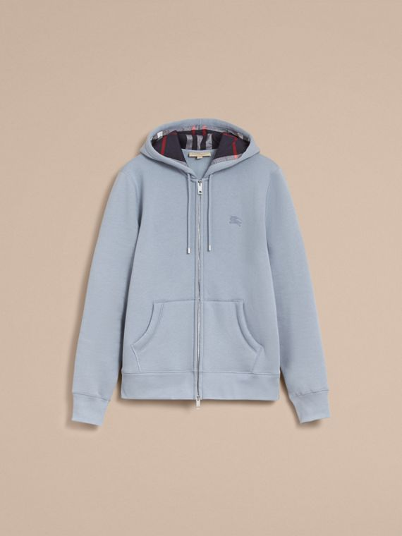 Hooded Cotton Jersey Top in Slate Blue - Men | Burberry - cell image 3