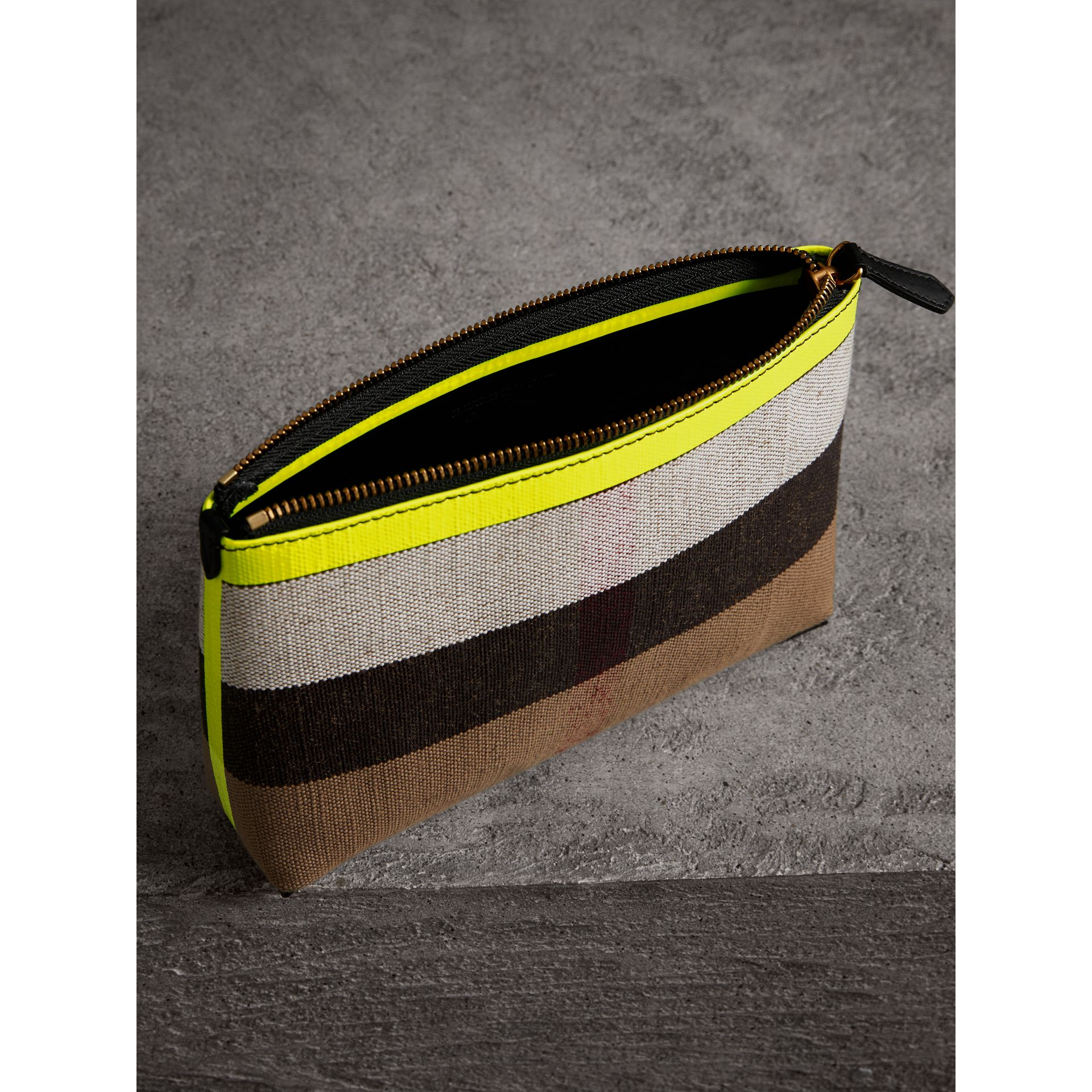 Medium Check Canvas and Leather Zip Pouch in Black/neon Yellow - Women | Burberry - gallery image 3