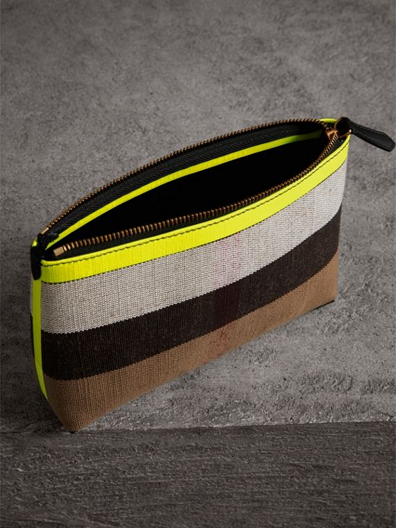 Medium Check Canvas and Leather Zip Pouch in Black/neon Yellow - Women | Burberry - cell image 3