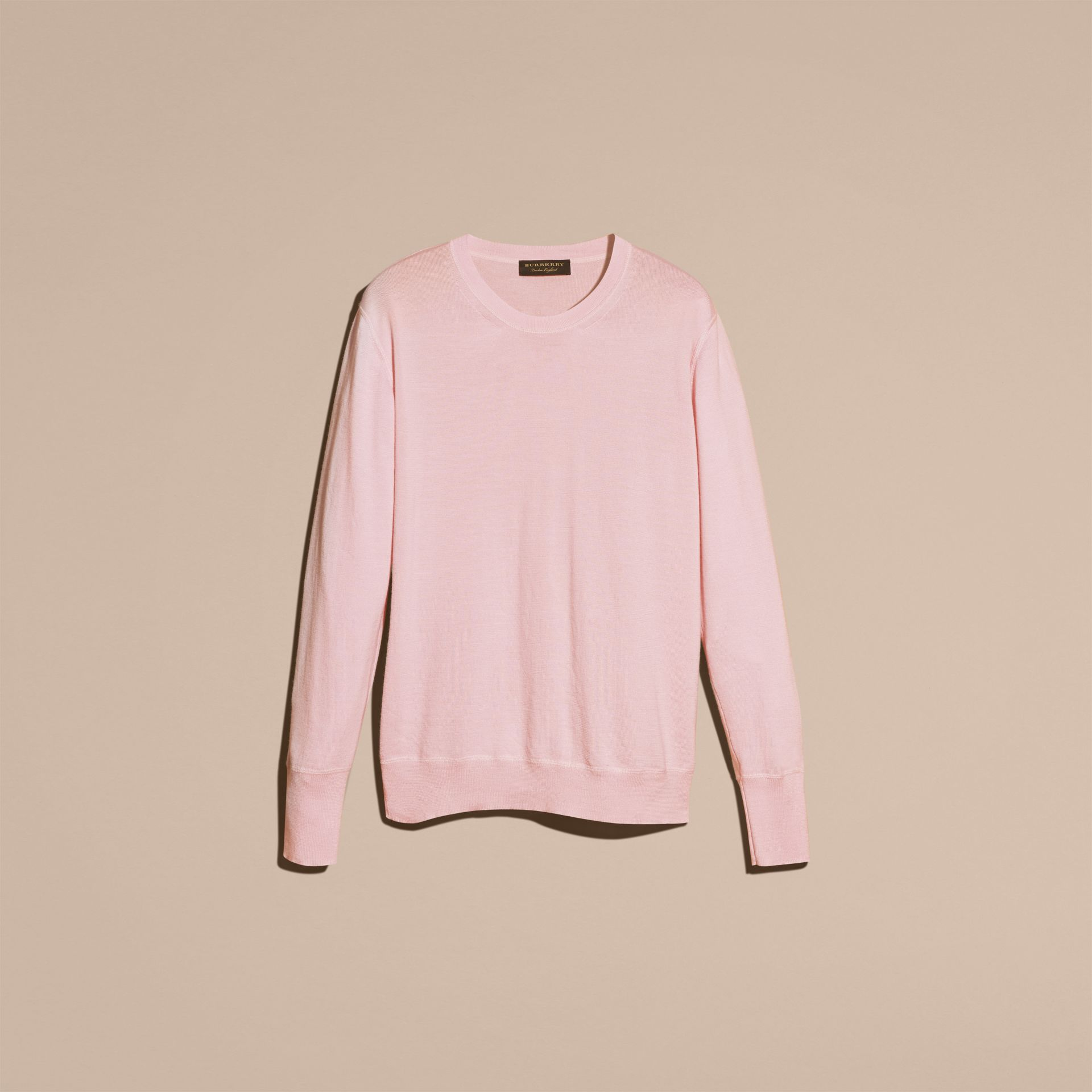 Light pink Crew Neck Cashmere Sweater Light Pink - gallery image 4