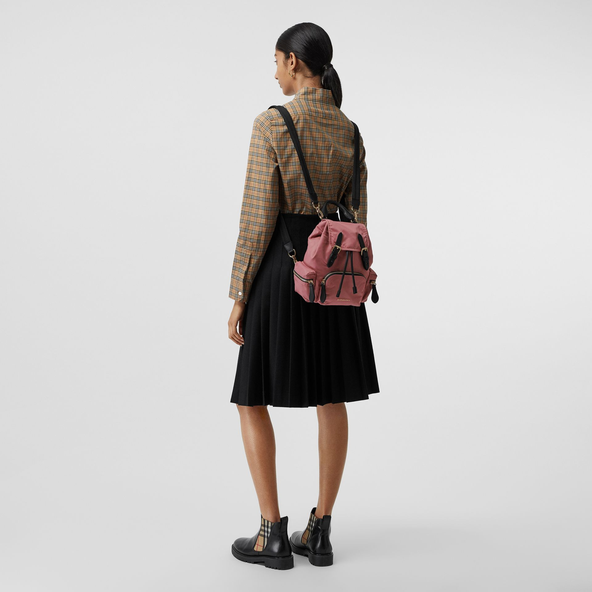 The Small Crossbody Rucksack in Nylon in Mauve Pink - Women | Burberry Canada - gallery image 3