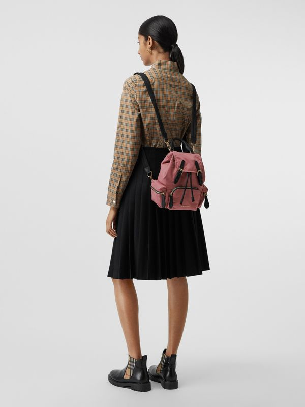The Small Crossbody Rucksack in Nylon in Mauve Pink - Women | Burberry Canada - cell image 3