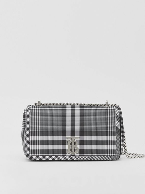 Small Check Nylon Lola Bag in Black/white