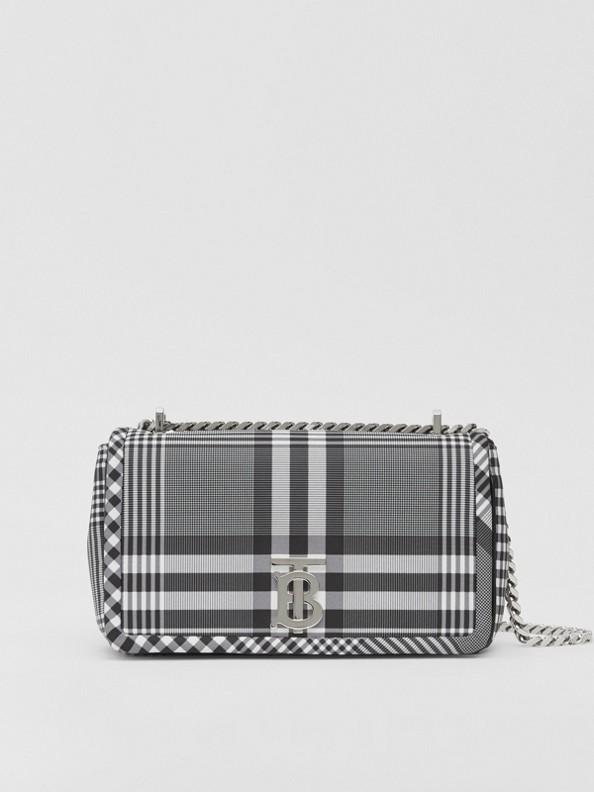 Small Check Nylon Lola Bag in Black/white