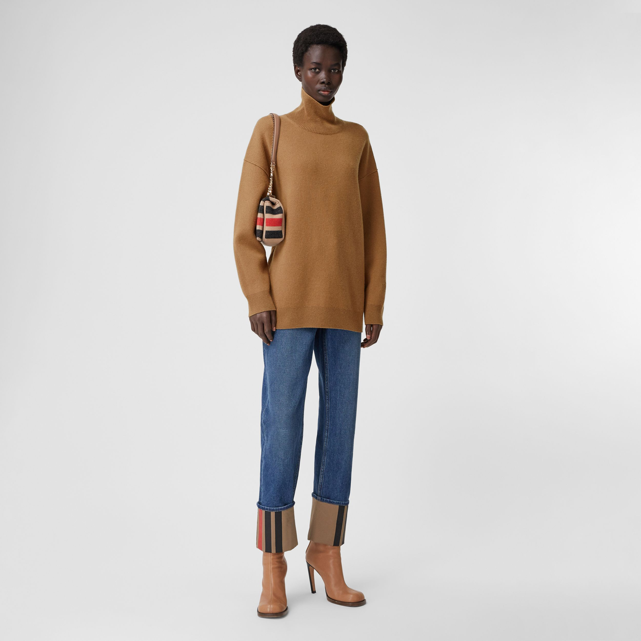 Monogram Motif Cashmere Blend Funnel Neck Sweater in Camel - Women | Burberry - 1