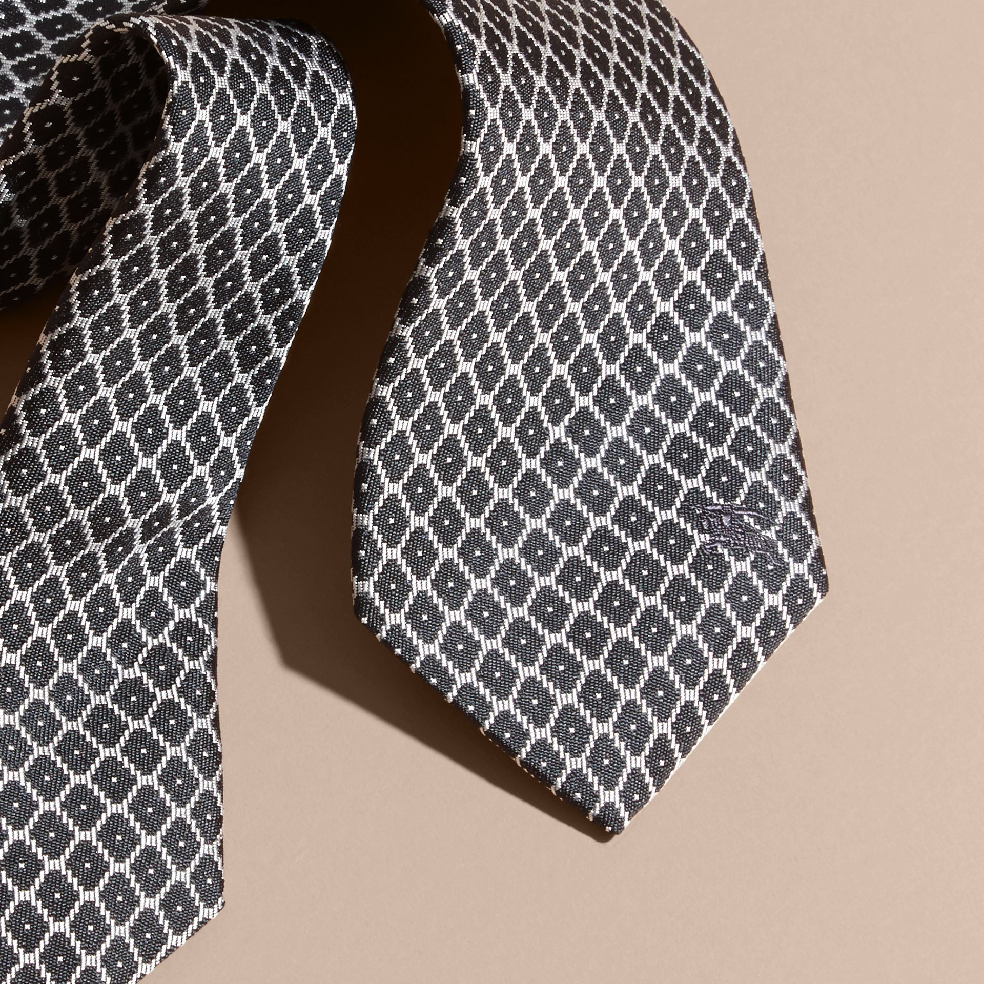 Black Modern Cut Silk Jacquard Tie Black - gallery image 2