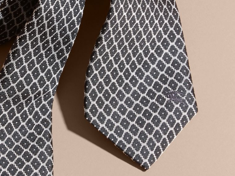 Black Modern Cut Silk Jacquard Tie Black - cell image 1