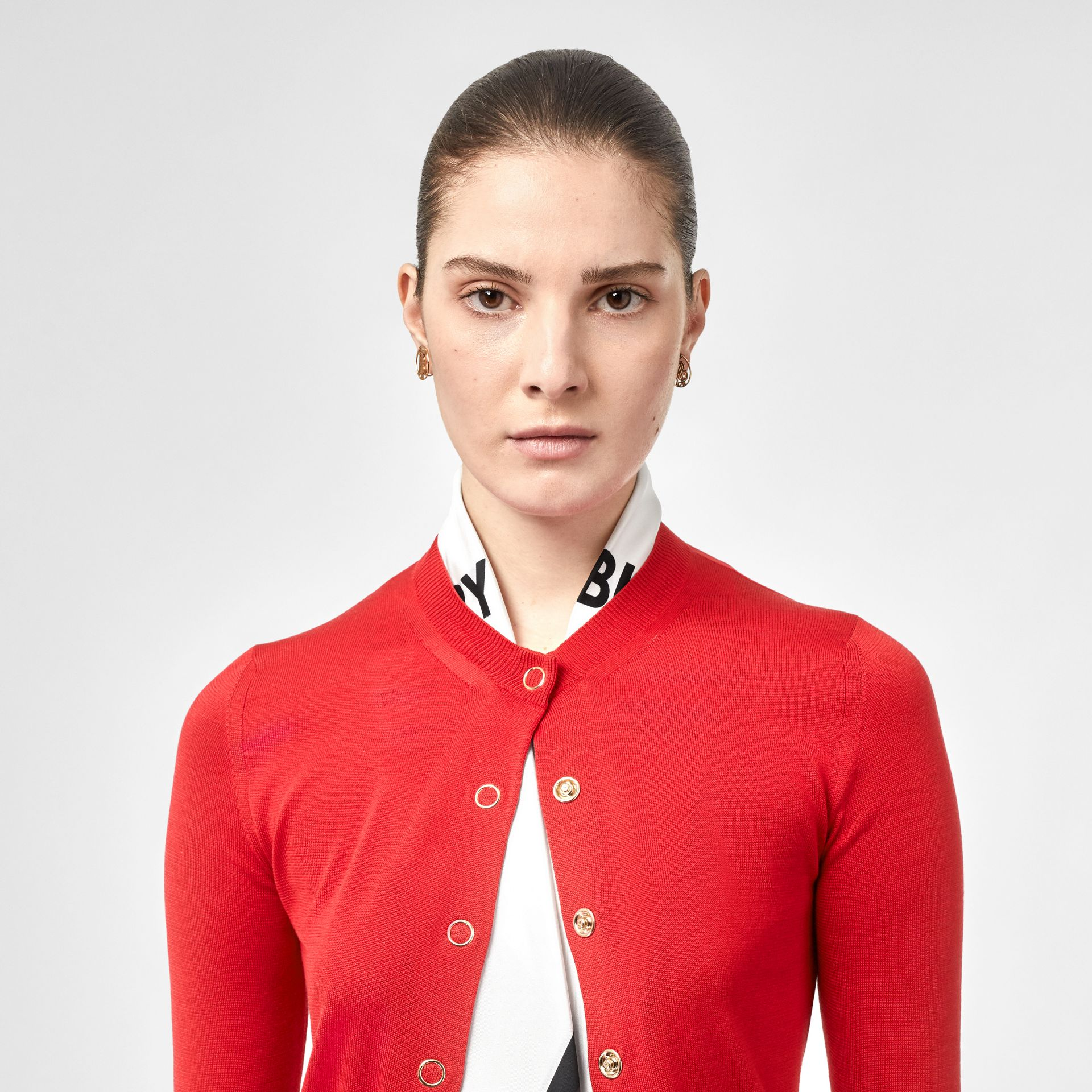 Scarf Detail Silk Cardigan in Bright Red - Women | Burberry Canada - gallery image 1