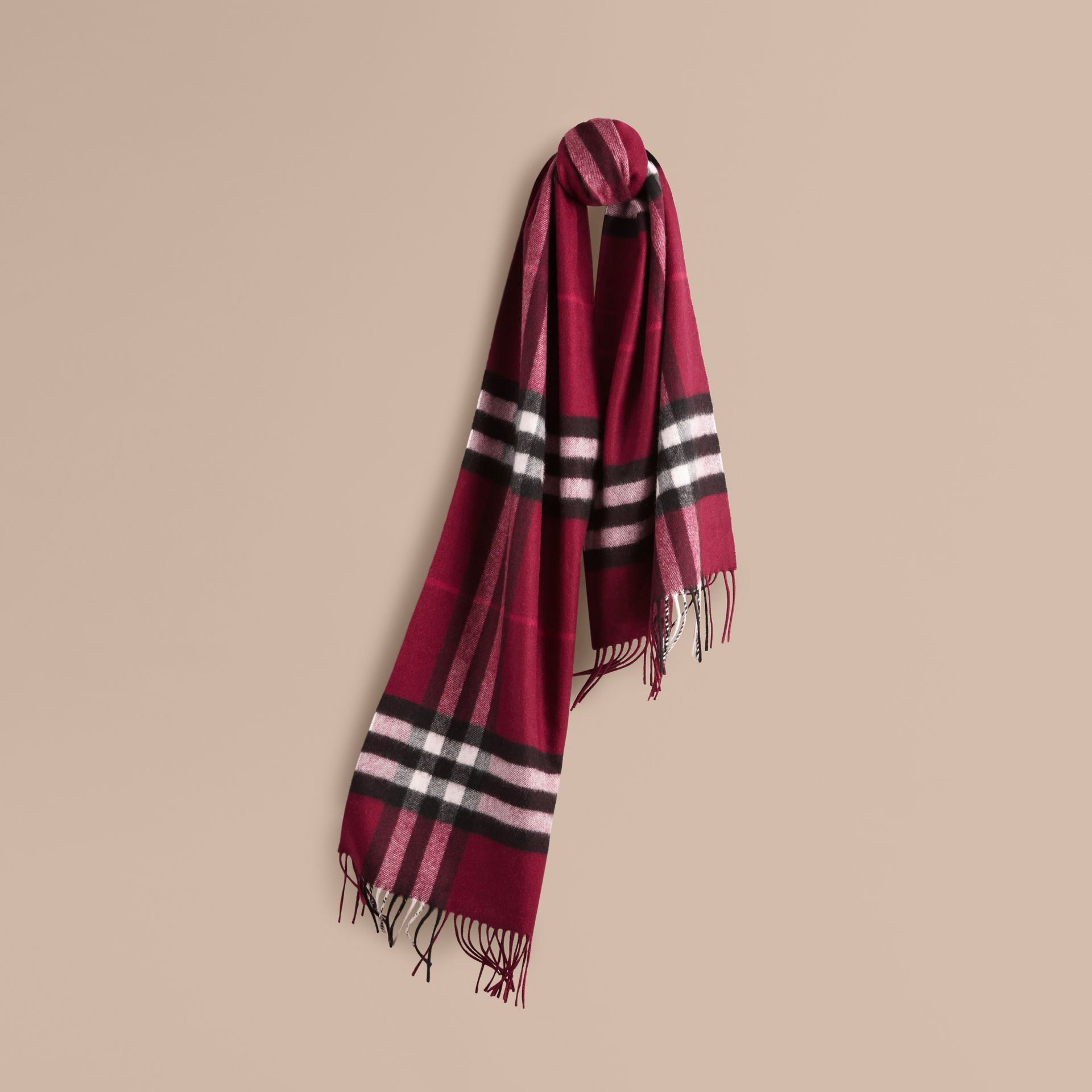 The Classic Cashmere Scarf in Check Plum - gallery image 6