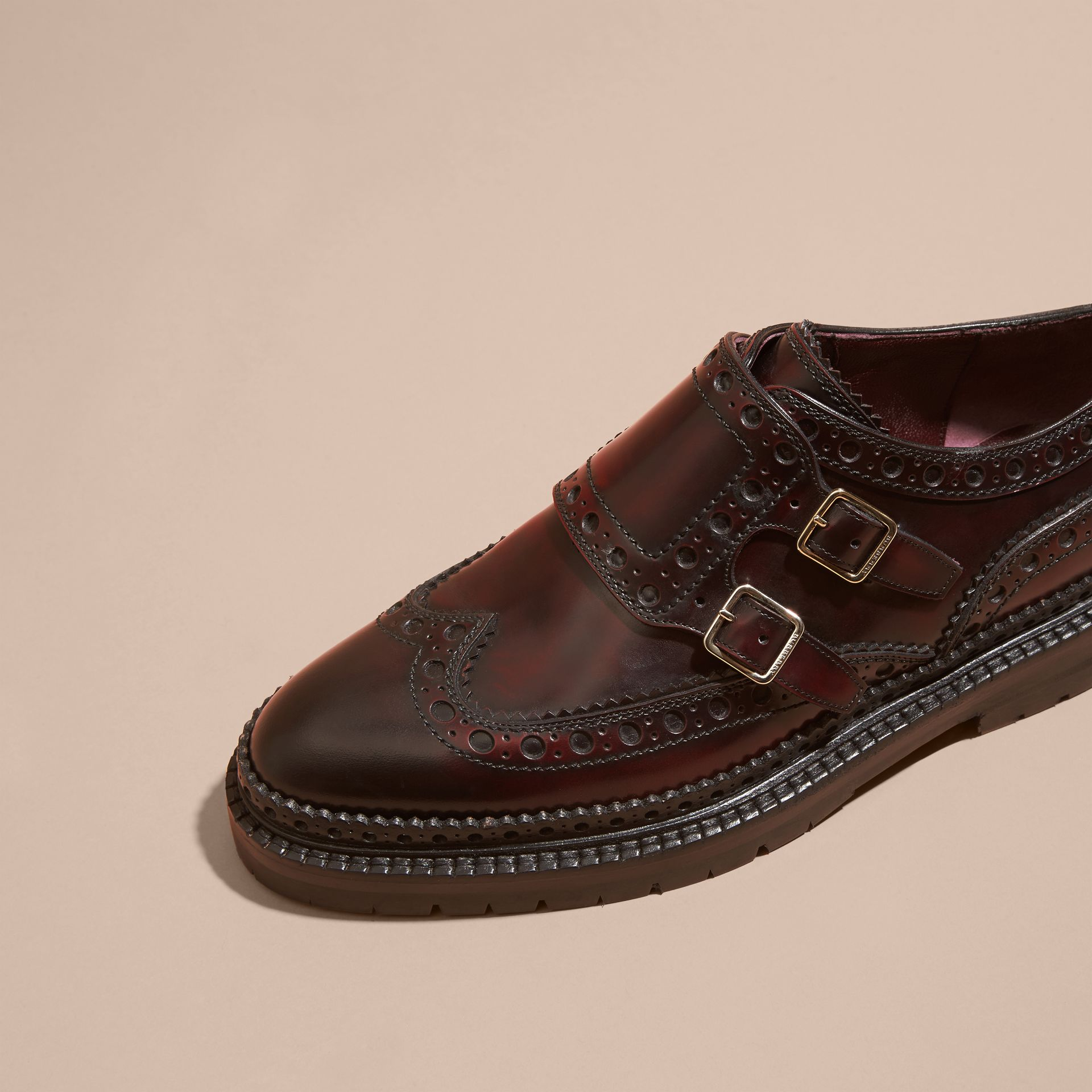 Bordeaux Leather Monk-strap Brogues - gallery image 3