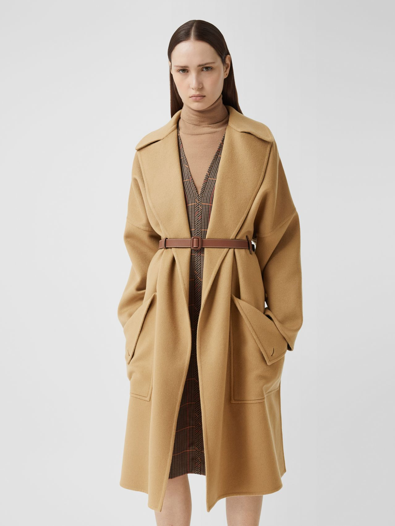 Pocket Detail Double-faced Cashmere Wrap Coat in Camel