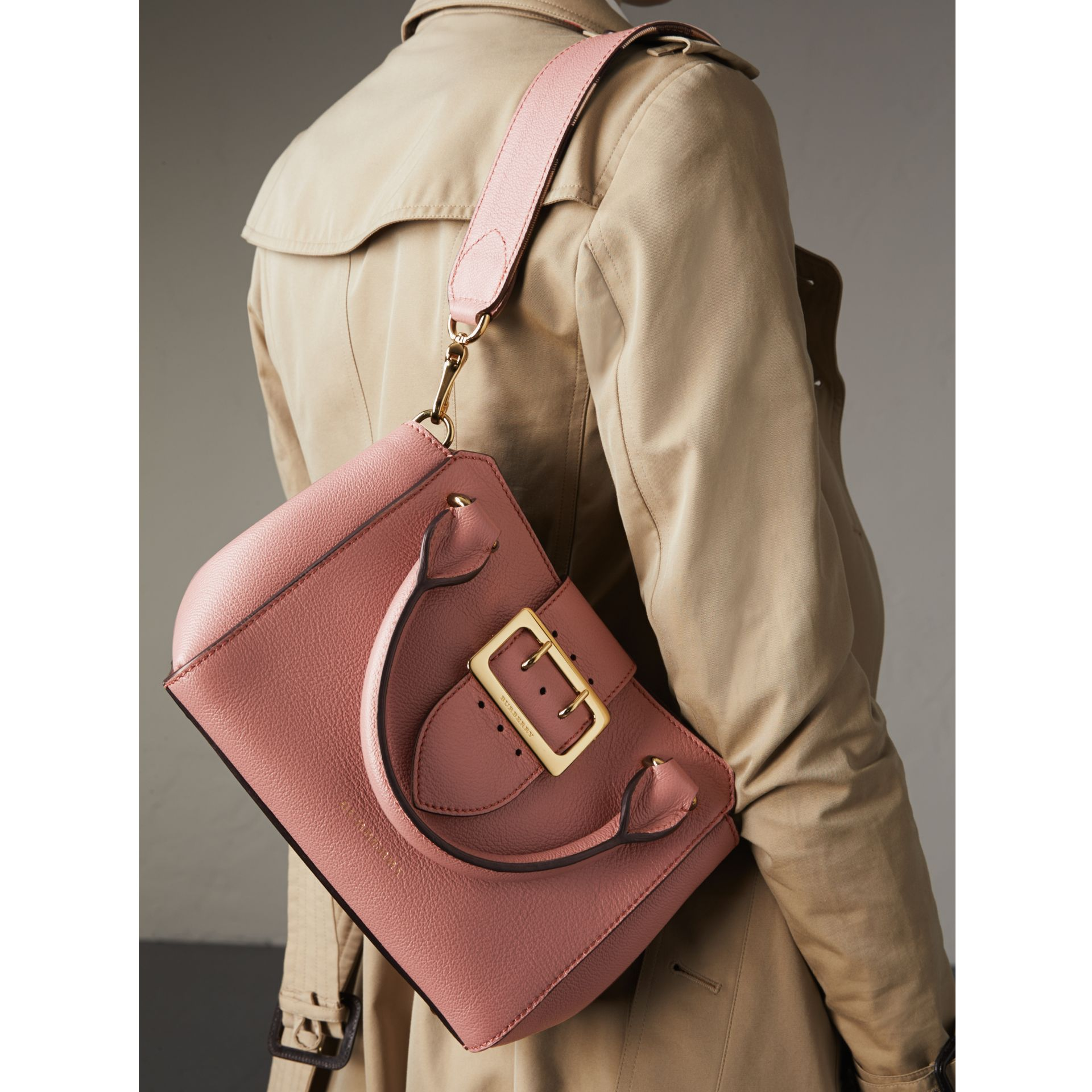 The Small Buckle Tote in Grainy Leather in Dusty Pink - gallery image 4