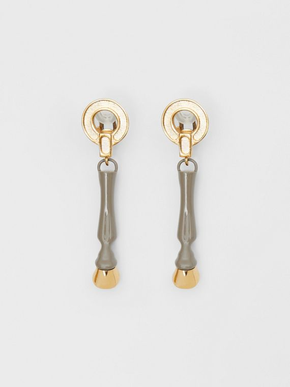 Resin and Gold-plated Hoof Drop Earrings in Honey
