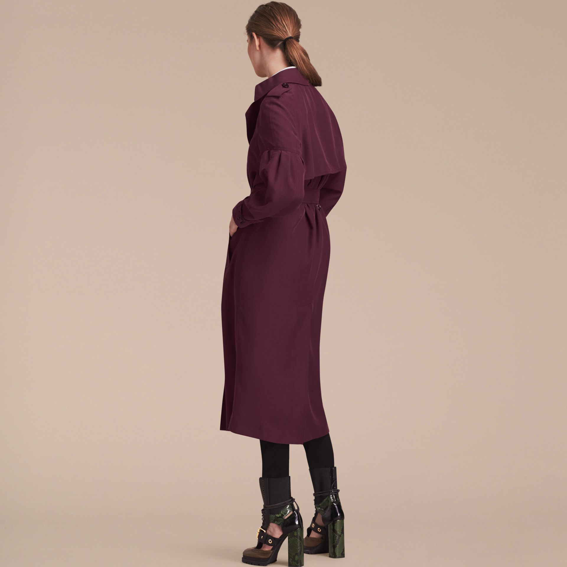 Burgundy Oversize Silk Trench Coat with Puff Sleeves Burgundy - gallery image 3