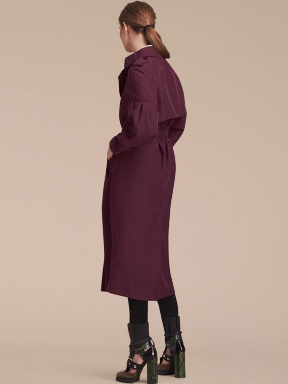 Burgundy Oversize Silk Trench Coat with Puff Sleeves Burgundy - cell image 2