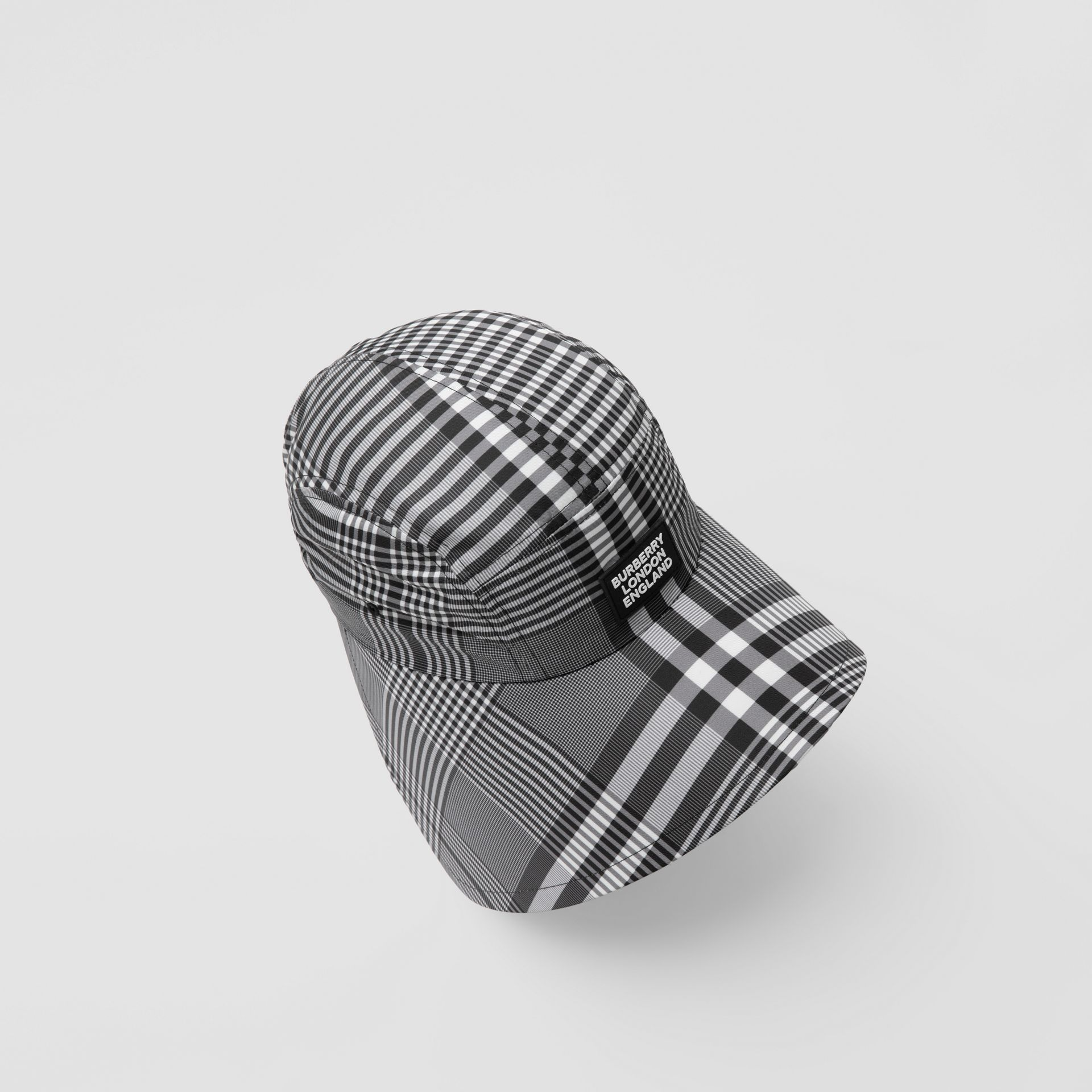 Logo Appliqué Check Bonnet Cap in Black/white | Burberry United Kingdom - gallery image 1