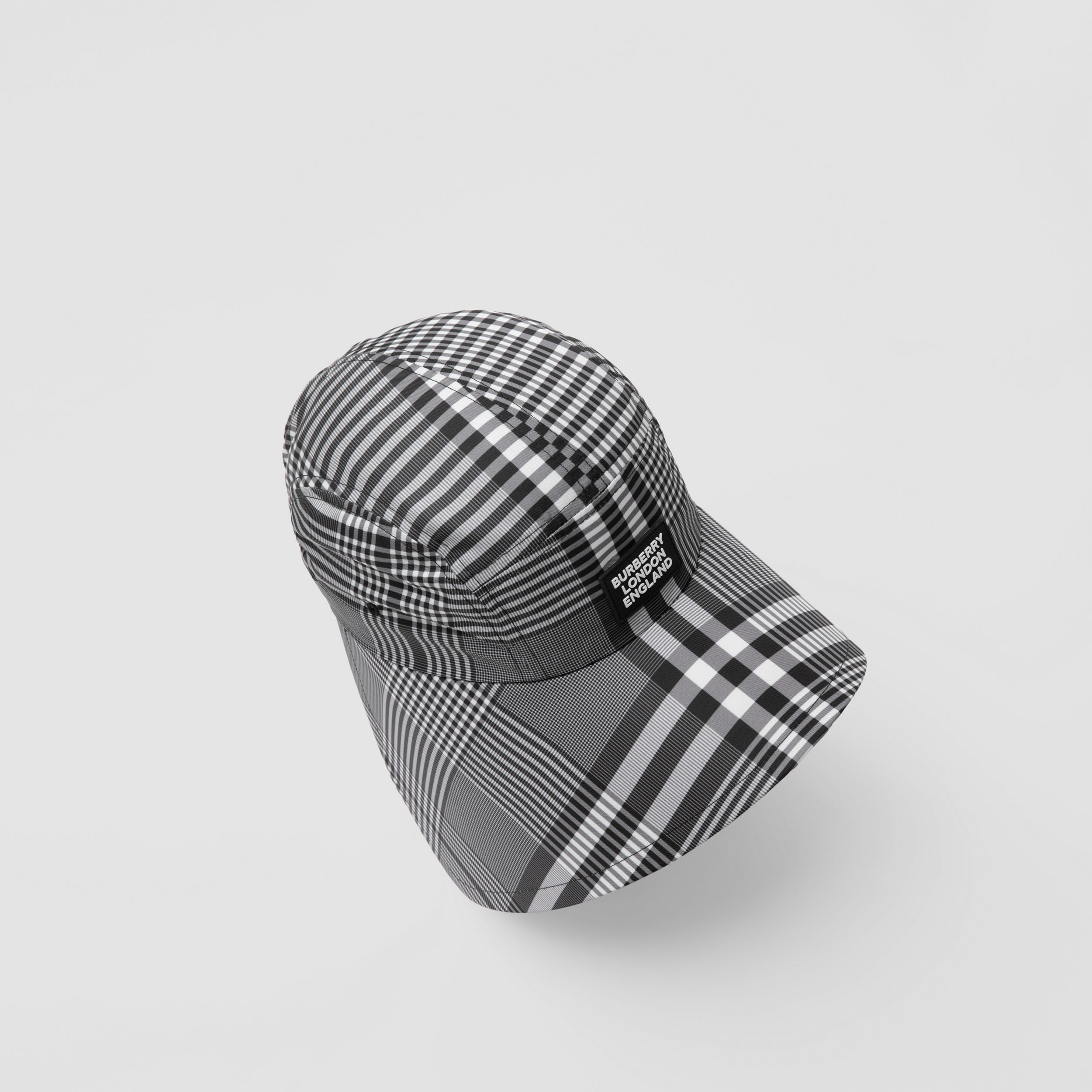 Logo Appliqué Check Bonnet Cap in Black/white | Burberry - 2